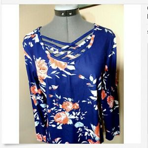 unbranded Tops - CAGED Blouse S Blue Peach floral Boho tunic top LS